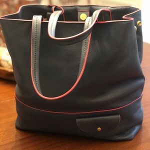 J Crew All Day Leather Tote Navy with Red Trim